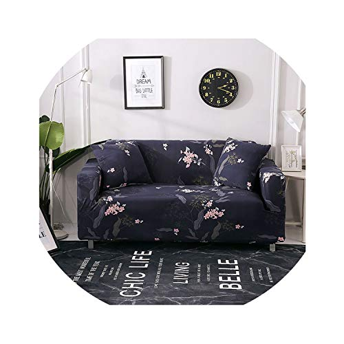 Floral Leaves Printing Sofa Cover Tight Wrap All-Inclusive Couch Cover for Living Room Anti-Dirty Furniture Cover 1/2/3/4 Seater,Catalina Blue,1seater 90-140cm (Catalina Outdoor Sectional)