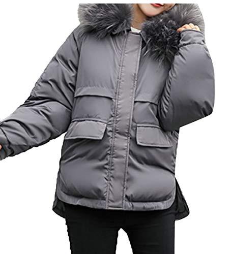 Thickened Gery Parka Down Hood Coat EKU Jackets Women's Fur with n4FqCaf