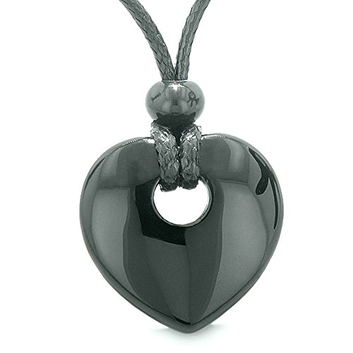 Amulet Lucky Heart Donut Shaped Charm Black Agate Gemstone Pendant Spiritual and Healing Powers Necklace -