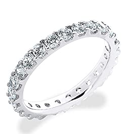 1.5 CT Lab Grown Diamond Eternity Stackable Wedding Ring in 10K Gold, Sparkling in E-F Color and VS Clarity