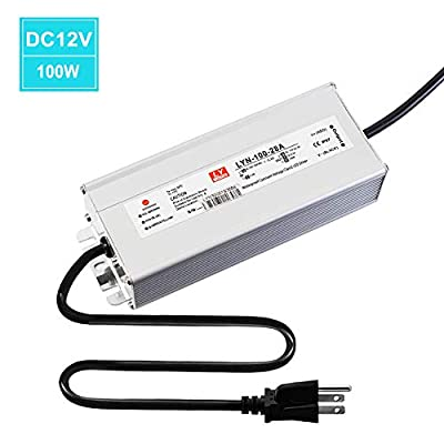 LED driver 100 watts, waterproof IP67 power low voltage transformer, 85V-265V AC to 12V DC low voltage output, 3-pin plug 9.8 ft LED cable for LED landscape lighting, computer projects, outdoor lighti