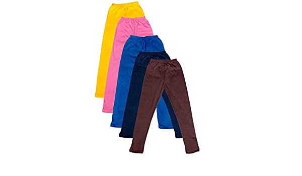 Pack of 5 Indistar Big Girls Cotton Full Ankle Length Solid Leggings -Multiple Colors-17-18 Years