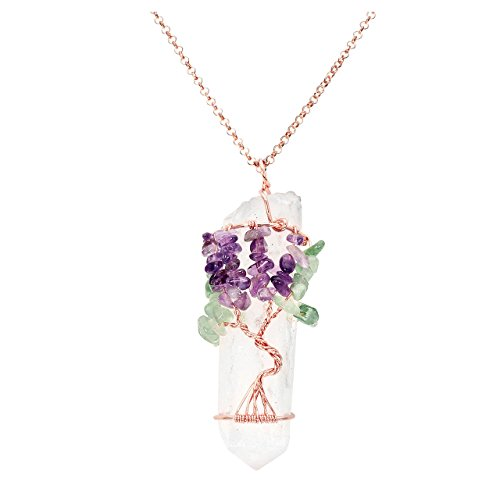 Top Plaza Chakra Gemstone Tree of Life Wire Wrapped Natural Clear Quartz Healing Crystal Point Pendant Necklace(Amethyst+Green Aventurine)