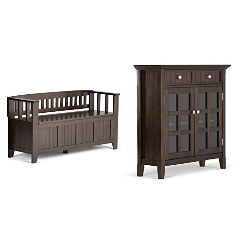 Simpli Home Acadian Entryway Bench, Rich Tobacco Brown + Simpli Home Acadian Entryway Storage Cabinet, Tobacco Brown :Bundle