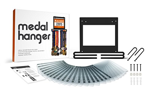 flybold Sports Marathon Medal Display Hanger Holder for 40 Medals 100 Runner Race Bibs 20 Flip Pouches for Race Bibs Photos Memorabilia
