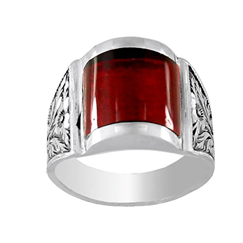 Falcon Jewelry Sterling Silver Men Ring Handmade Ring Steel Pen Craft Created Bule Amber Stone