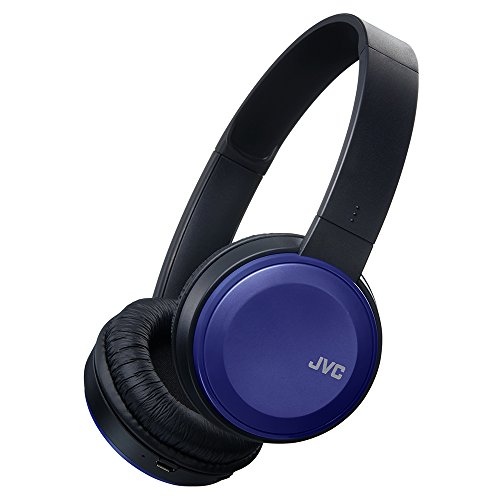 JVC Wireless Lightweight Flat Foldable On Ear Bluetooth Wireless Headband with Mic, Blue (HAS190BTA)