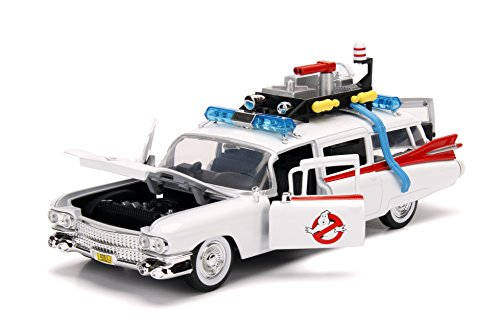 Jada 99731-MJ Ghostbusters Ecto-1 Die-Cast Collectible Toy Model Car/Vehicle, White