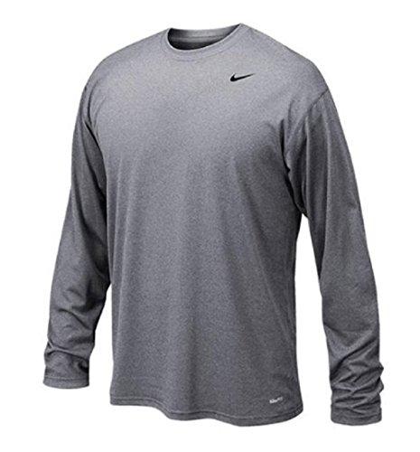 Nike Long Sleeve Body - Nike Mens 384408 Legend Dri-Fit Long Sleeve Tee - Gray Sie Small