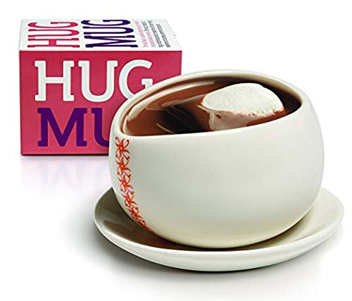 The Hug Mug Set for Chocolate Drinking Ceremony: White Ceramic Wide-Mouth, Handle-less Cup with Matching Saucer for Hot Chocolate, Max Brenner's Signature Cup
