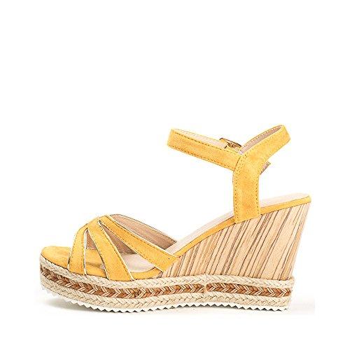 Ideal Shoes, Damen Sandalen Gelb
