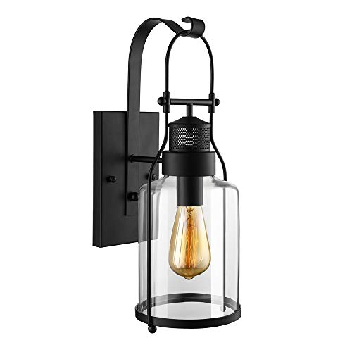 RUNNUP Industrial Wall Sconces Wall Lighting Lantern Wall Lamp Wall Fixture Loft Light with Cylinder Glass Shade use E26 Light Bulb in Black Finish, 1 Light