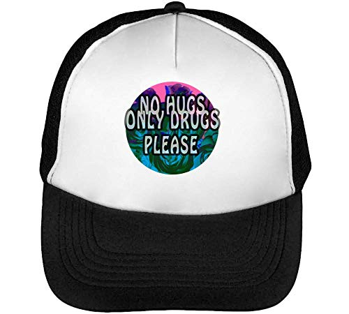 No Hugs Only Drugs Please Funny Gorras Hombre Snapback Beisbol Negro Blanco
