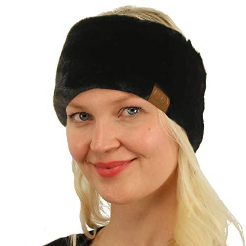 SK Hat shop All Furry Adjustable Faux Fur Sherpa Fleece Lined Headband Headwrap Solid Black