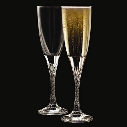 Flutes Stem Black (Set of 2 Twist Stem Champagne Flutes,)
