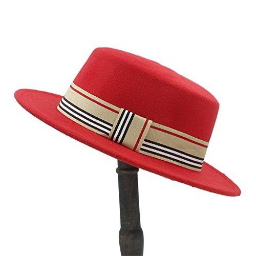 CP & YR Fashion Wool Flat Top Hat For Women's Felt Wide Brim Fedora Hat Laday Prok Pie Chapeu de Feltro Bowler Gambler Top Hat (Color : Red, Size : 56-58cm) (Hat Felt Gambler Womens)