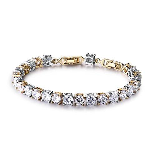 GULICX Silver Gold Two-Tone Wedding Round Crystal Zircon 6