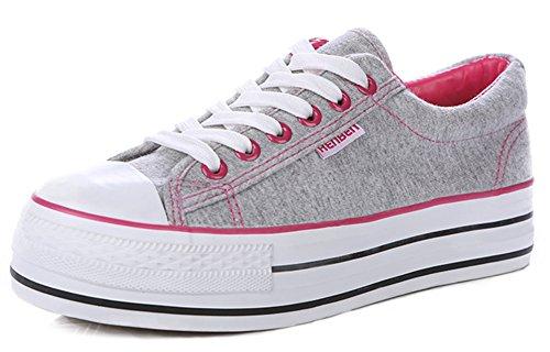 Idifu Kvinna Trendiga Låg Topp Snör Åt Upp Tygskor Platt Skridsko Plimsolls Plattform Sneakers Grå