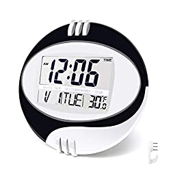 BESTWYA Round Digital Clock,Large Digital Clock with Large LCD Screen with Time/Alarm/Snooze/Month/Date/Weekday/Indoor Temperature (Black&Silver)