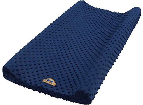 BlueSnail Ultra Soft Minky Dot Changing Pad Cover (Navy)