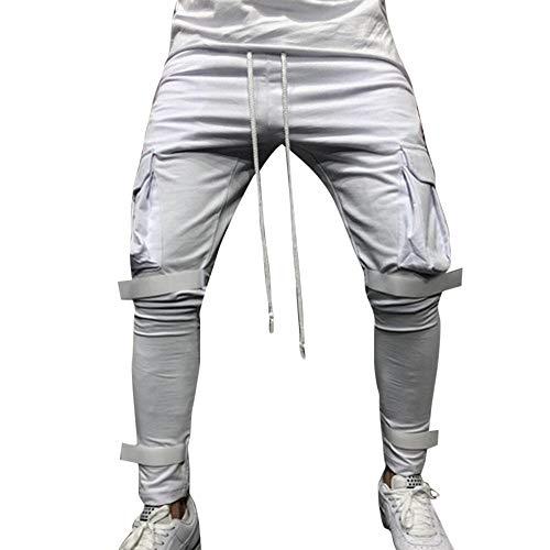 Fantaisiez Cordon Pantalons Trousers Salopette Mode De Serrage Hiver Blanc Verte Hommes Cargo Rouge Automne Pants Noir Poche Gris Travail SwqFfSv