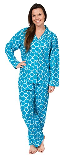 Leisureland Women's Cotton Flannel Pajama Set Giraffe Aqu...