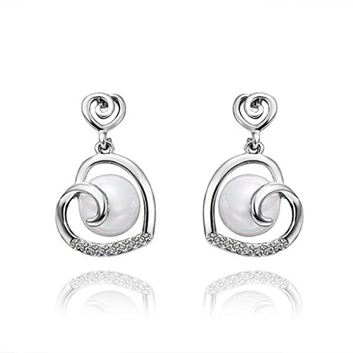 Aomily Jewelry 18K Gold Plated Drop Earrings For Womens Hollow Heart Pearl White Gold