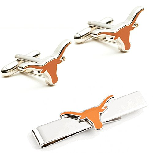 NCAA Mens Texas Longhorns Cufflinks And Tie Bar Gift (Texas Longhorns Bar)