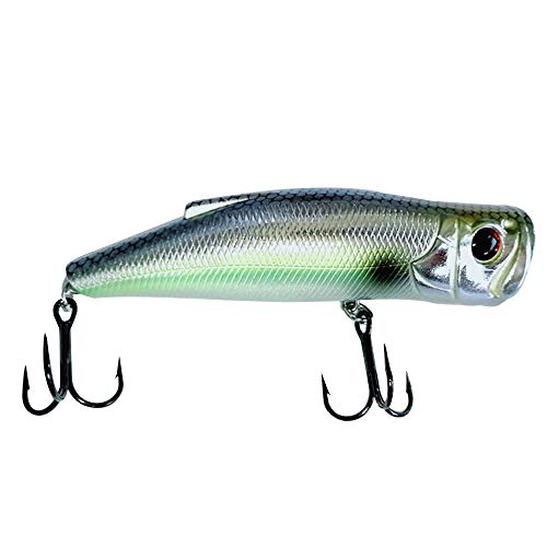 - Darlock Popper Fishing Lure Bass Hard Bait Tuna Catfish Trout Walleye with Treble Hooks for Saltwater Freshwater, 1pc, Plug