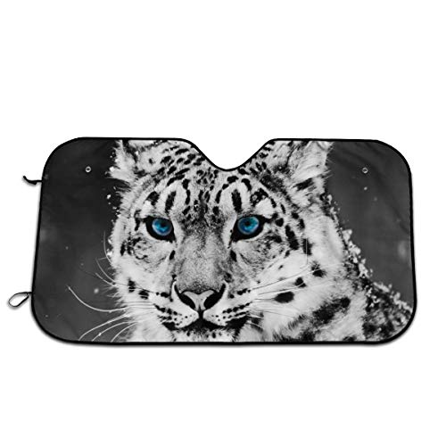 Snow Leopard Car Sunshade 27.5 X 51 in 51.2 * 27.5 in Oxford Cloth + Pearl Aluminum Film Heat Resistant, Effectively Protect Your Car Interior from Aging (Gecko Sunshade)