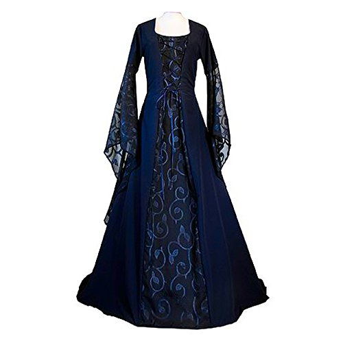 Medieval Fancy Dress Costumes (KASST Halloween Cosplay Costume Renaissance Medieval Irish Costume Over Dress Gothic Dress (S, dark blue))
