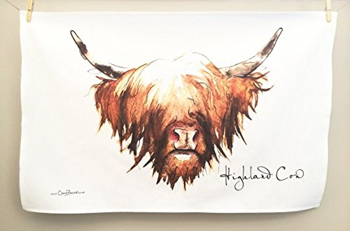 Clare Baird Creations Tea Towel in a Highland Cow Design