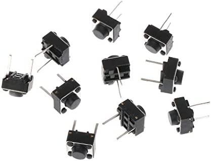100pcs Interruptor de Bot/ón Pulsador Bot/ón T/áctil Micro Interruptor del Tacto Varios Tama/ños 6x6x7mm
