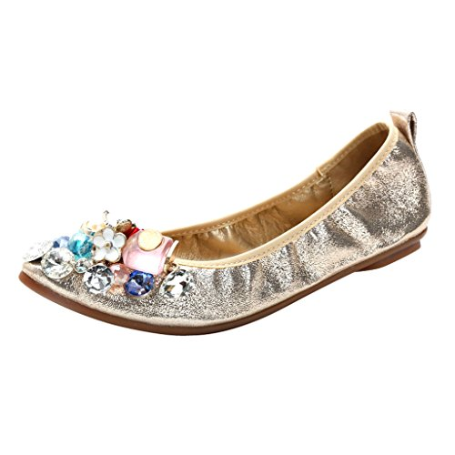 Dear Time Women Crystal Ballet Flats Gold R0XwvCyG