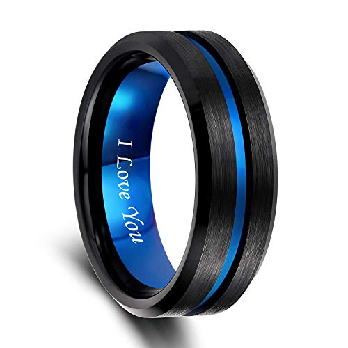 8mm Mens Black Tungsten Ring with Thin Blue Groove Beveled Edge Engraved I Love You Comfort Fit Size 13.5