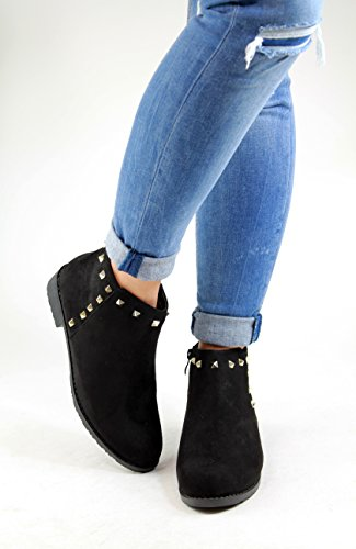 New Womens Ladies Flat Ankle Boots Studded Suede Casual Zip Low Heel Shoes Black Hw6xeKJNHA