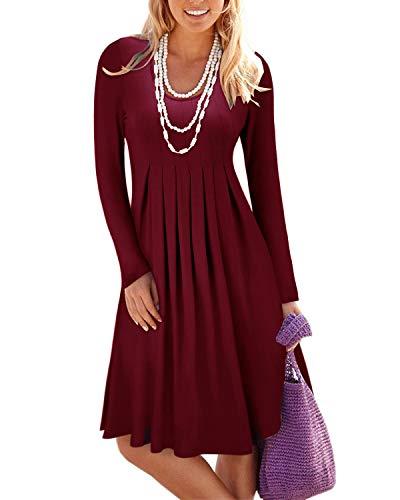 STYLEWORD Women's Long Sleeve Pleated Loose Swing Casual Dress(Wine,XXL)