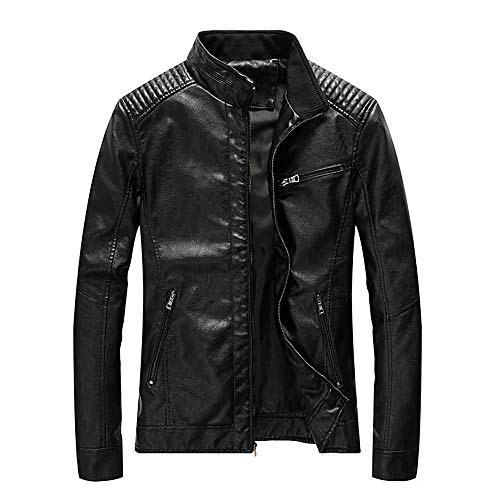 - WEEN CHARM Mens Leather Jacket Stand Collar PU Faux Motocycle Jacket