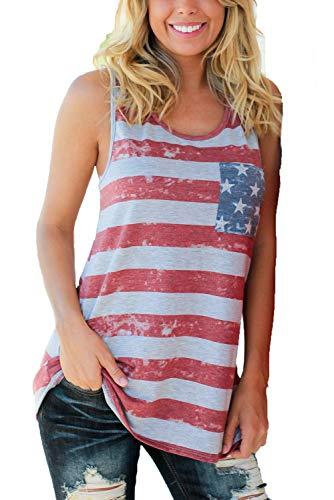 WFTBDREAM Tank Tops for Women American Flag Color Block Tshirts XXL