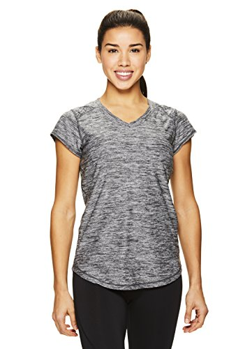 HEAD Women's Perfect Match Short Sleeve Workout T-Shirt - Performance V-Neck Activewear Top  - Black Heather, Large