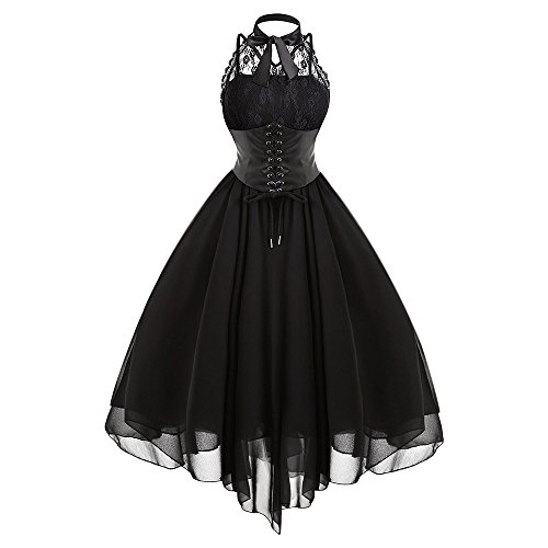 Langstar Women Gothic Bow Party Dress Vintage Black Sleeveless Cross Back Lace Panel Corset Swing Dress