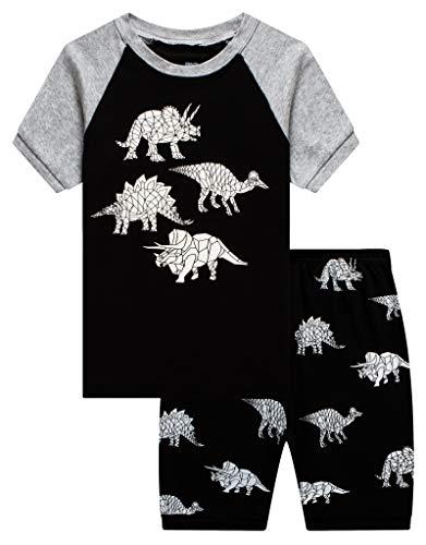 KikizYe Little Boys Glow in The Dark Dinosaur Pajamas Short Sets 100% Cotton Kid Summer Pjs 5