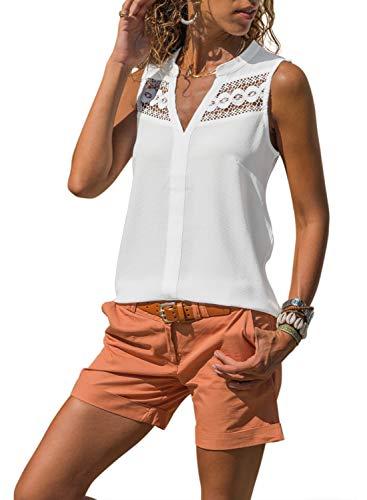 Ecrocoo Women's Crochet Yoke Sleeveless Tops Loose Sleeveless Tunic Tops White Medium