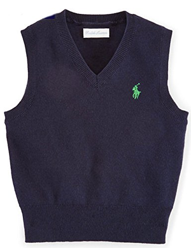 Polo Ralph Lauren Baby Boys' Cotton V-Neck Sweater Vest Hunter Navy (9 (Ralph Lauren V-neck Sweater Vest)
