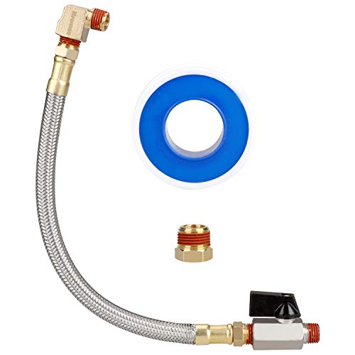 Hromee Extended Tank Drain Valve Assembly Kit with 10 Inch Flexible Braided Steel Tube 1/4 Inch NPT Shut-Off Ball Valve 90 Degree Brass Elbow Pipe Fitting and Thread Seal Tape for Air Compressor