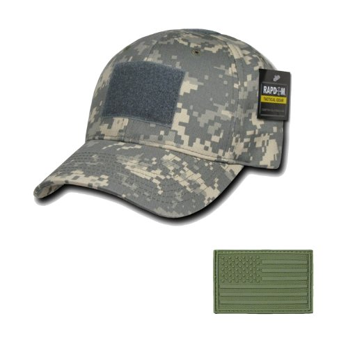 RAPDOM Tactical Constructed Ball Operator Cap ACU Caps with Free Patch (ACU, A Flag Olive Patch)