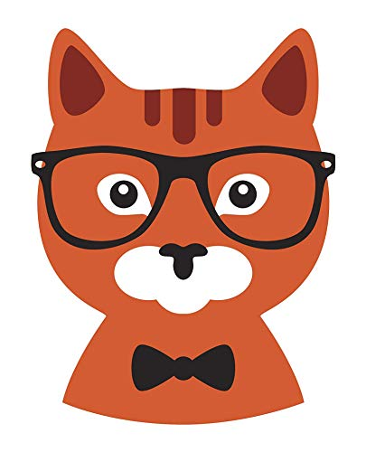 Cool Fancy Formal Hipster Animal Cartoon - Kitty Cat #1 (8