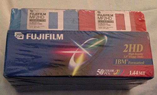 FujiFilm MF2HD Formatted 3.5'' Floppy Disk IBM Formatted 1.44 MB 50 Color Pcs. by Fujifilm