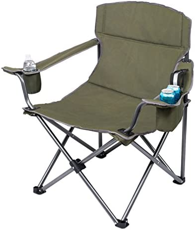 Internet's Best XL Padded Camping Folding Chair – Cooler Bag – Outdoor – Sports – Insulated Cup Holder – Heavy Duty – Carrying Case – Beach – Extra Wide – Quad
