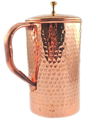 Pure Copper Hammered Water Jug Copper Pitcher for Ayurveda Health Benefit Hammered Finished by Parijat Handicraft (Image #3)